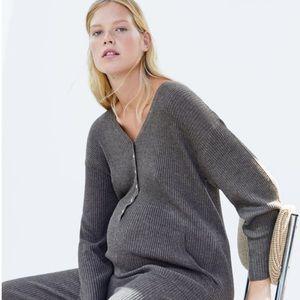 Zara maternity rib knit jumpsuit